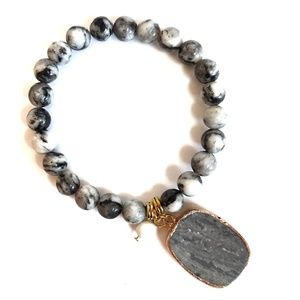 Amazonite Stone Beaded Bracelet Black White Gray